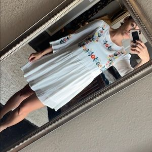 Floral embroidered bell dress